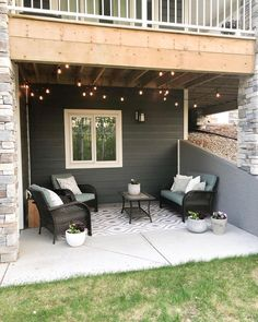 I'm excited to show you my patio space under our deck! We hung the string lights a couple weeks ago. Yesterday I planted a few shade-… Backyard Shade, Small Backyard Patio, Outdoor Shade, Backyard Patio Designs, Patio Ideas, Patio Shade, Deck Patio, Modern Backyard, Diy Deck