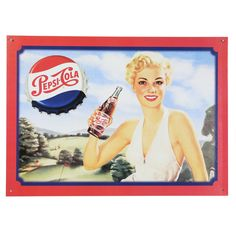 Pepsi Cola Blonde Tin Sign