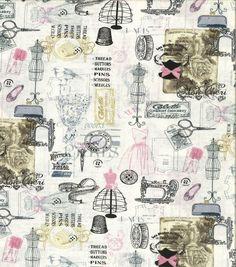 Novelty Cotton Fabric-Sewing Symbols