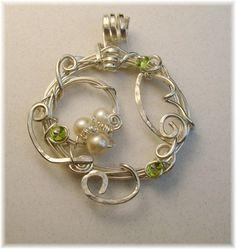 Sterling silver/Peridot/cultured pearls-sold megbrashdesigns.com