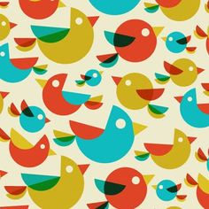 birds in simple shapes Cool Patterns, Print Patterns, Retro Art, Simple Shapes, Bird Prints, Surface Pattern, Background Patterns, Pattern Wallpaper, Beautiful Birds