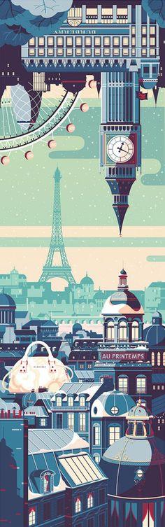Tom Haugomat - Handsome Frank Illustration Agency DESCRIPTION: Fun illustration of Paris. The illustration is very elegant.