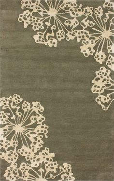 Wool and art silk rug with a Queen Anne's lace motif. Hand-tufted in India. Product: RugConstruction Material: W. Contemporary Rugs, Modern Rugs, Silk Wool, Wool Rug, Tan Rug, Rugs Usa, Hand Tufted Rugs, Tans, Queen