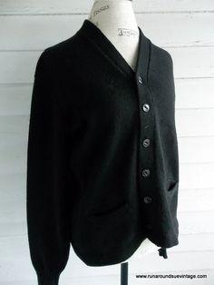 Vintage 1950s Men's Black WOOL Cardigan by runaroundsuevintage, $45.00