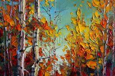 Autumn Birch Original Landscape Painting Oil on by willsonart