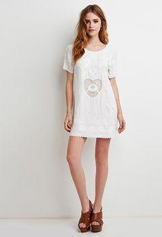 Heart-Embroidered Shift Dress   Forever 21 - 2000130581