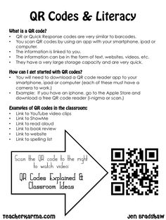 How to use QR codes in the classroom. Tutorial and FREEBIE for teachers! Free download. #QR #codes #teachers