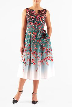 I <3 this Floral and bird print crepe dress from eShakti