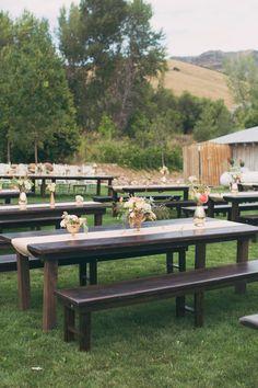 rustic farm table reception, photo by Alixann Loosle http://ruffledblog.com/blush-and-gold-utah-wedding #weddingreception #decor #wedding