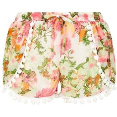 Parisian White Pom Pom Trim Floral Print Shorts ($11) ❤ liked on Polyvore