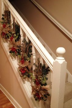 Christmas banister decorations. Different from the standard garland.