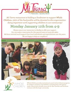 Our neighbors at Mi Tierra are donating 100% of their proceeds to us on January 11 4pm-9pm. Eat a delicious meal and know that your efforts are going toward high quality programs for children and teens of all abilities!