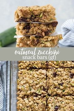 If you need a healthy, gluten free snack idea, look no further than these Oatmeal Zucchini Snack Bars! They're wholesome and whole grain with rolled oats, plenty of zucchini and dark chocolate chips! #glutenfreerecipes #healthysnacks #zucchini Gluten Free Bars, Gluten Free Snacks, Healthy Snacks, Healthy Recipes, Whole Food Recipes, Snack Recipes, Bar Recipes, Pasta Recipes, On The Go Snacks