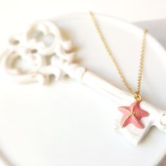 Starfish necklace, marine necklace, charm necklace, pink starfish charm necklace, beach necklace, simple, pink necklace, star necklace by Sayaestics on Etsy