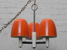 Orange Metal Chrome 3-Light Mushroom Chandelier 1970s Hanging Lamp