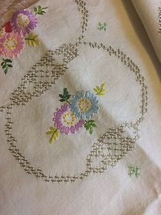 Superb Vintage Hand Embroidered Floral Linen Tablecloth 40x40 inches