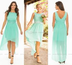High Low Mint Green Chiffon Country Wedding Bridesmaid Dresses 2017 Crew Neck Applique Open Back Prom Party Dress Maid of Honor Gowns Cheap Bridesmaid Dresses Cheap Maid of Honor Dresses Online with 85.0/Piece on Toprated's Store   DHgate.com