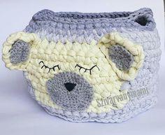 Nagy macis horgolt gyerekszobai játértároló Kids room bear crochet basket