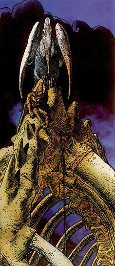 Arzach by Moebius Jean Giraud Moebius, Moebius Art, Comic Book Artists, Comic Artist, Comic Books Art, Heavy Metal Comic, Serpieri, Metal Magazine, Fantasy Illustration