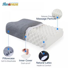 Natural Latex Pillow Bed Orthopedic Pillow Cervical //Price: $49.06 & FREE Shipping // #fashion #style #love Sleep Help, Good Sleep, Hip Pain Relief, Latex Pillow, Orthopedic Pillow, Wedge Pillow, How To Relieve Headaches, How To Sleep Faster, Support Pillows