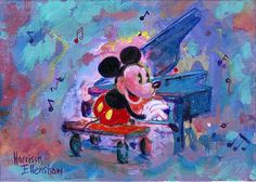 """Concert Mickey"" By Harrison Ellenshaw - Original Acrylic on Canvas, 5 x 7.  #Disney #DisneyFineArt #MickeyMouse #HarrisonEllensaw"