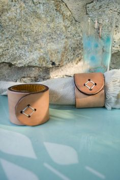 Leather Napkin Rings by littlewingsdesigns on Etsy