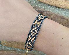 Birthday gift for her - Loom Bracelet - Beaded bracelet - Adjustable beaded bracelet - Mom birthday gift - Statement bracelet-Aztec Bracelet Loom Bracelet Patterns, Bead Loom Bracelets, Bead Loom Patterns, Beaded Jewelry Patterns, Beading Patterns, Loom Beading, Bead Art, Gifts For Her, Creations