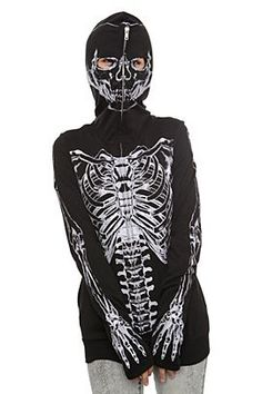 Glow in the dark Skeleton full zip hoodie at Hot Topic -- it zips up over your face, with eye-holes, thumb holes. Would be fun to do a custom one from xray of self :)