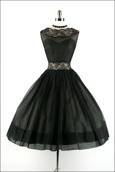 Vtg 50s Black Organza Lace party dress