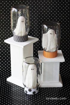 Ghosts in A Jar Halloween Craft from  landeelu.com -- So cute!