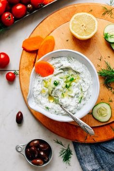 Easy, 1-bowl vegan tzatziki made with 6 simple ingredients! Creamy, tangy, and the perfect dairy-free alternative to traditional tzatziki.