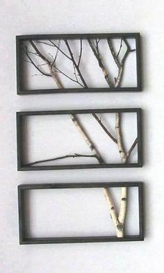 trois cadres, une branche d'arbre et voilà... un cadre original