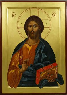 Jesus Christ Pantokrator (raised border) - This is a premium quality icon made with pure 23K gold leaf. Painted using traditional technique - egg tempera, lime wood panel with slats on the back, varnish, 23 karat gold leaf. About our icons BlessedMart offers hand-painted religious icons that follow the Russian, Greek, Byzantine and Roman Catholic traditions. We