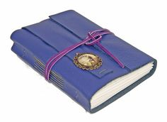 Purple Leather Wrap Journal with Dragonfly Cameo by boundbyhand