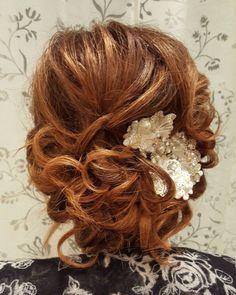"""#updo #bride #bridetobe #bridalhair #weddinghair #formalhair #lowbun #soft #texturedupdo #auburnhair #highlights #hairups #funbun #hairart #hairstylist…"""