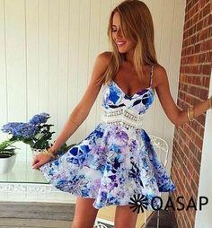 Heavenly Roses Print Backless Slip Dress - OASAP.com