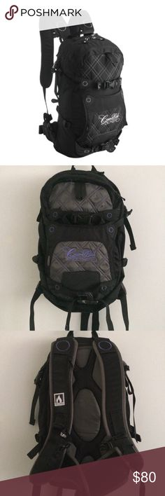 Camelbak Muse Backpack in Purple/Black/Grey EUC. Please see photos for signs of wear.  Women specific fit, perfect for hiking or skiing or back to school! Easily accessible pockets. Multiple straps. Holds 70 ounces. Therminator harness. Plus it's stylish Camelbak Bags Backpacks