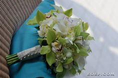 Green and White Orchids, Green hydrangea and other green and white flowers www.dmeventsanddesign.com