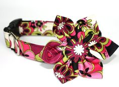 Dog Collar & Flower Set  Plum Dahlia by CreatureCollars on Etsy