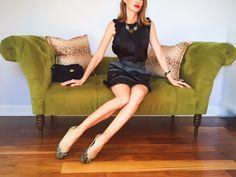 Outfit Details: Kenar Silk Black Blouse (similar here)~ Nanette Lepore silk taffeta pegged skirt(similar here)~ Jimmy Choo Glitter Ballerina flats (similar here)~ J. Crew statement necklace (similar here)~ Hourglass Icon Red lipstick