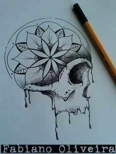 This would look pretty cool over the shoulder Skull Tattoo Design, Skull Design, Tattoo Designs, Mandala Tattoo, Mandala Art, Tattoo Drawings, Cool Drawings, Tribal Tattoos, Muster Tattoos