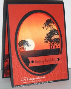 handmade birthday card from Simply Sara Stampin' ... gorgeous rusty orange ... almost monochromatic ... sponged sunset background for stamped silhouette trees ... framed in negative space oval ... awesome card! ... Stampin' Up!
