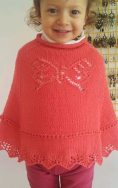 Free Knitting Pattern for Butterfly Poncho - Poncho for children with lace butterfly motif on front and back. Sizes: 2T (4T, 6, 8, 10) . Designed by Vera Sanon. Pictured project by samisan2012.  Available in English and Italian