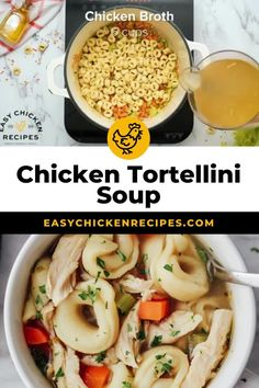 This chicken tortellini soup recipe uses staple ingredients and is simple to make. It's perfect for a cold day and oh so simple to whip up! With a flavorful broth and plenty of hearty, delicious tortellini, this easy soup recipe is perfect for busy weeknights. #tortellini #chickensoup #weeknightdinner