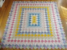 Vintage 30-40s Trip Around the World Quilt Top done as a rectangle, not a square.