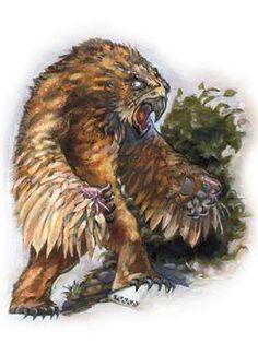 Urso-Coruja - Essa criatura é recoberta por uma mistura espessa de penas escuras e pêlo. Seu corpo lembra um urso, mas a cabeça é similar a de uma águia, dotada de olhos grandes e redondos e um bico curvo. Suas cores variam entre o marrom-escuro e marrom-amarelo. Seu bico tem a cor de marfim escurecido. Um macho adulto alcança 2,5 m de altura e pesa quase 750 kg.