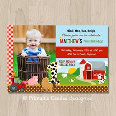 Farm Animal Birthday Invitation  DIY Custom by printablecandee, $10.00