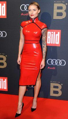 Sophia Thomalla latex dress