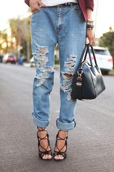 Distressed boyfriend jeans.