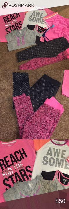 Girls Playtime Bundle For the little girl on the go.. Running, jumping, and playing. This bundle includes 2 tee shirts (size 10), 2 tank tops (size 10), 2 workout leggings (size 8), and 2 shorts (one pair is from Carter's size 10 and the other is from the Nike store size M in kids). Pants have never been worn. Everything else is gently used a handful of times. No stains or tears. Osh Kosh Bottoms Leggings